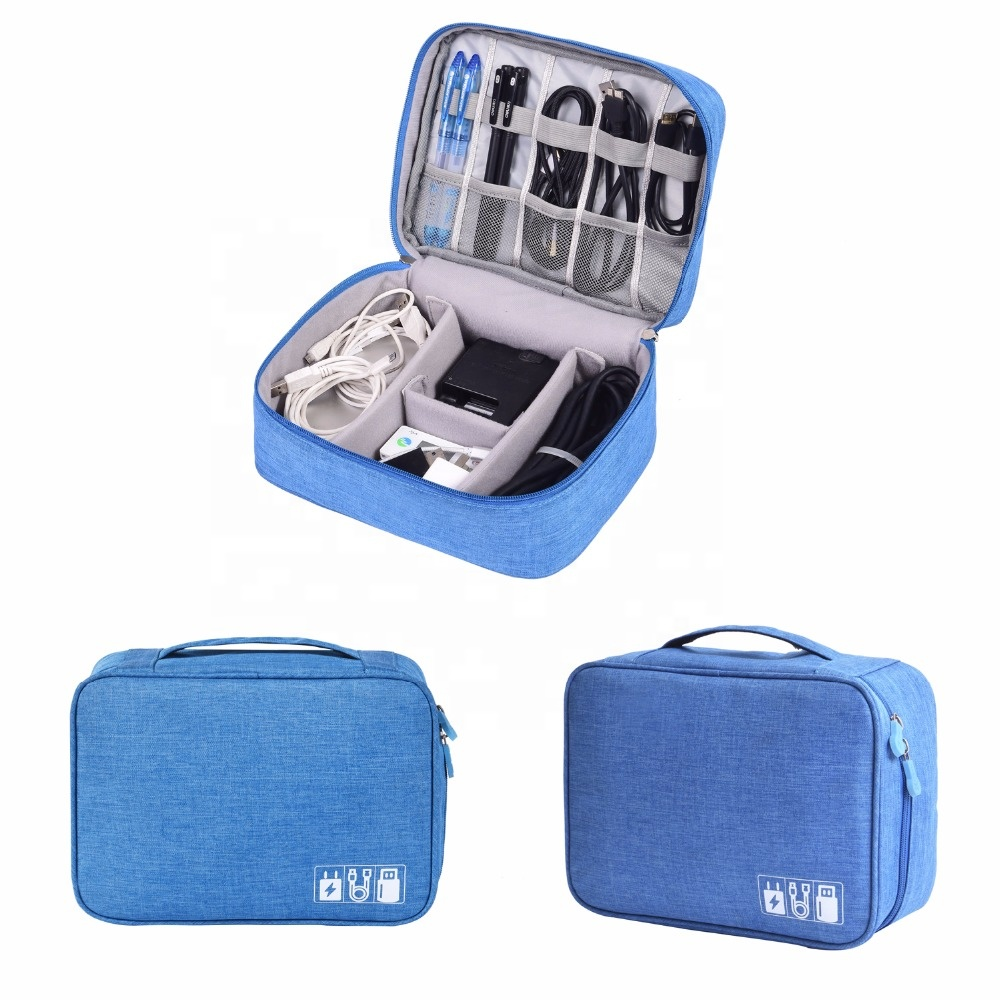 Higher quality 310D Polyester Travel Shock-proof Portable Organizer Mesh Zipper Pouch Travel  Digital Accessories Organizer