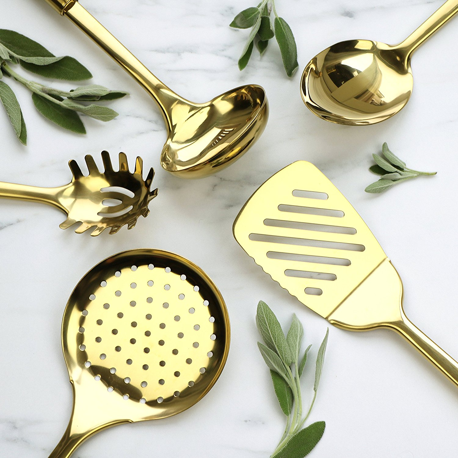 2018 New Design Stainless Steel Gold Cooking Utensils Set Spatula / Slotted Spoon