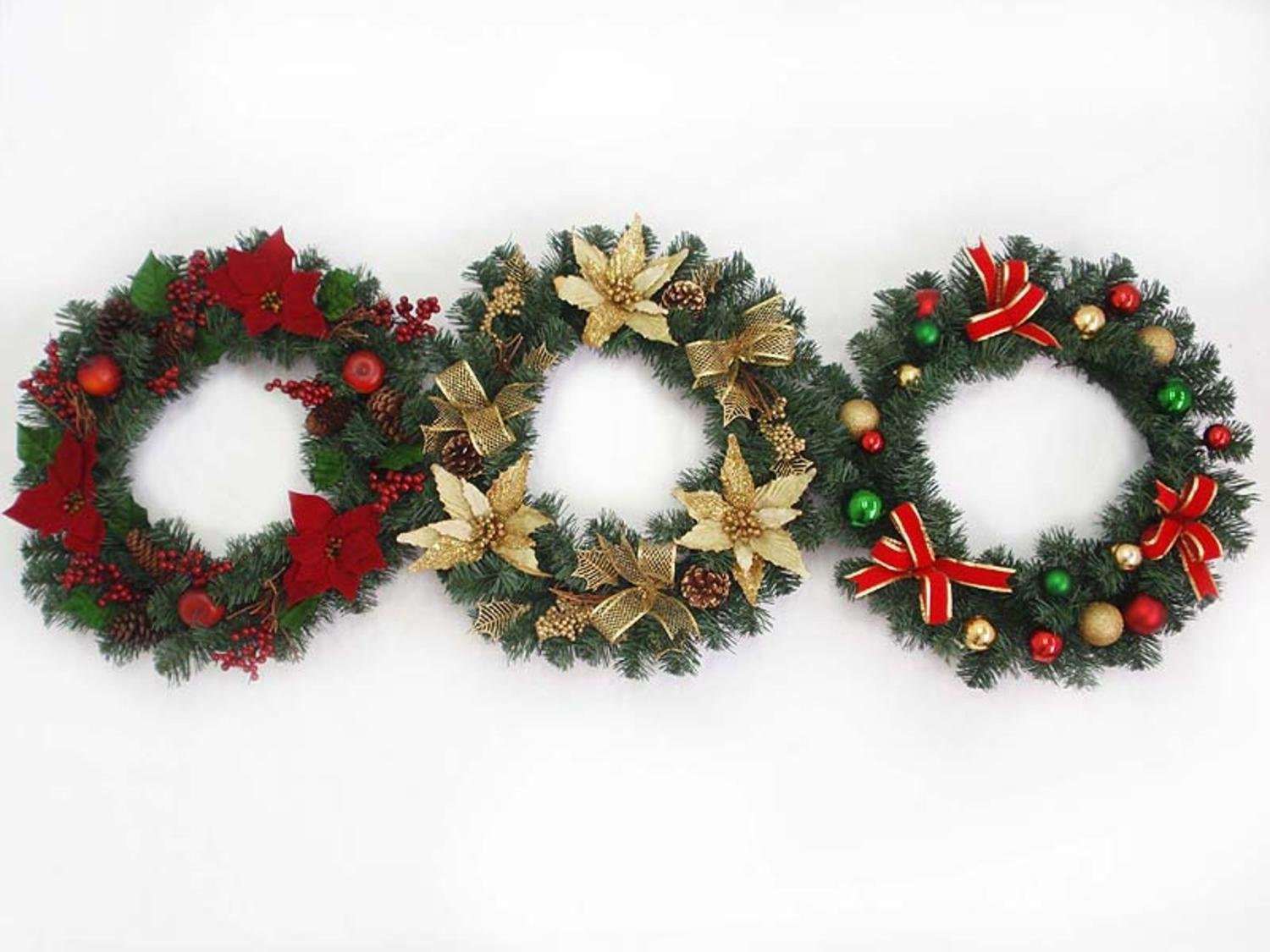 get quotations set of 3 pre decorated 20 artificial christmas wreaths unlit