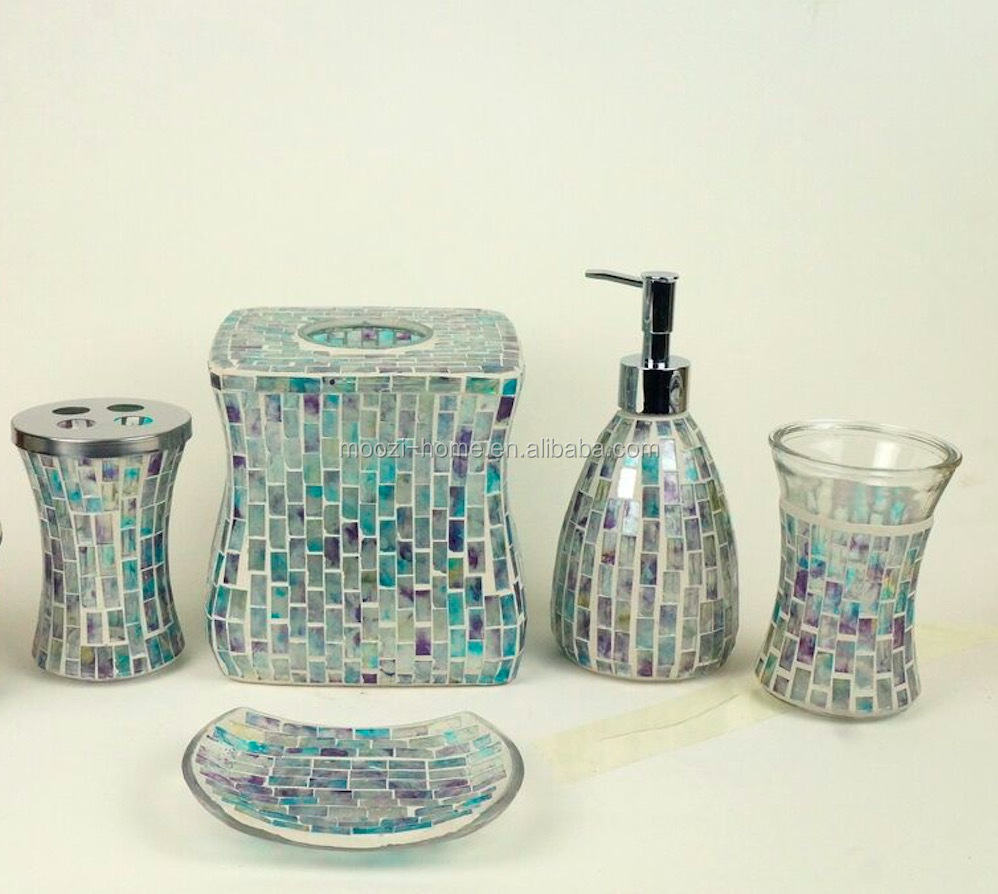 Charmant Mosaic Glass Colored Bathroom Accessories Set Of 5pcs   Buy Bathroom  Accessories Set,Glass Bathroom Set,Mosaic Bathroom Set Of 5pcs Product On  Alibaba.com
