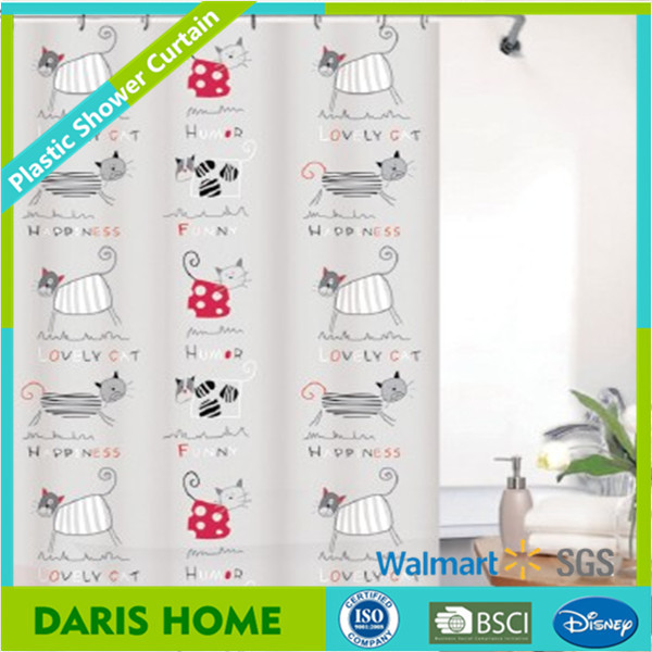 Kids PEVA Cartoon Animal Cat Printed Shower Curtains