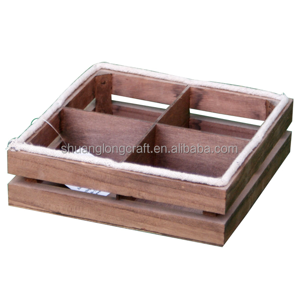 Fumigation of wood packing fruit crates, vintage color wooden divider apple crate
