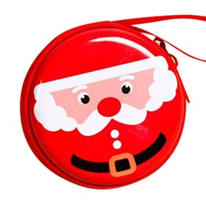 New Christmas Santa Claus Round Gift Boxes Xmas Gift Zipper Coin Purse Key Wallet Pouch Bag Red Hanging Decoration