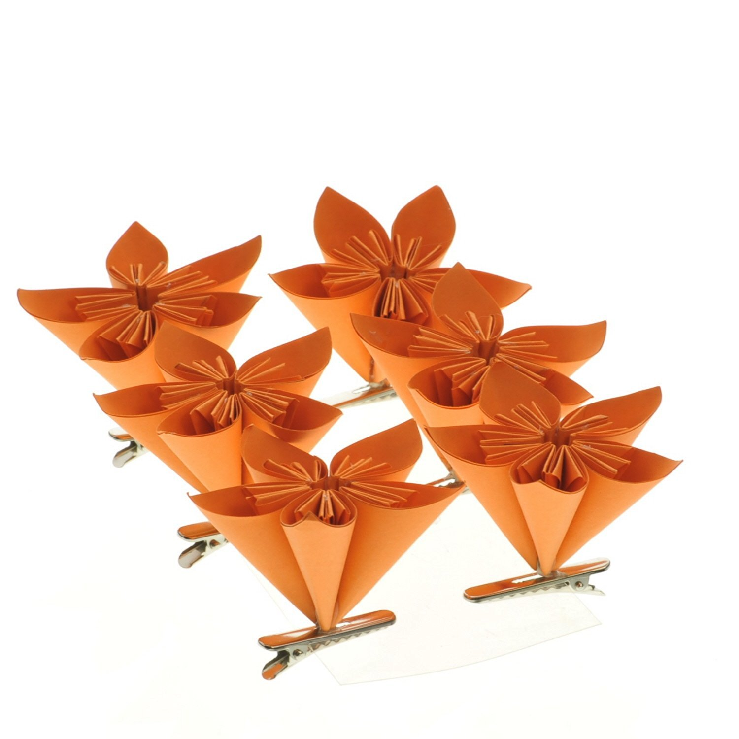 Buy Orange Folded Paper Flower On Clip Box Of 6 In Cheap Price On