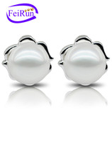 9-10mm AAA white button high lustrous freshwater pearl earring alloy gold plated