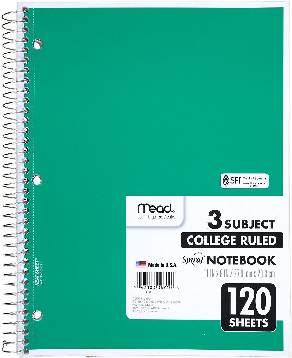 "3 Pk. Mead Spiral Notebook, 3 Subject, College Ruled, 120 Sheets, 11"" x 8.5"", Assorted Colors"