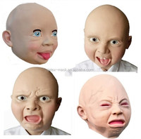 2017 Hot Latex Baby Mask,Baby Face Adult Size Full Head Mask,Smile/Angry/Aggrieved Baby Mask
