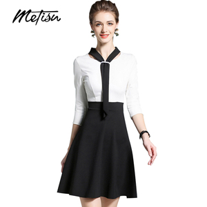 Black Contrast Modern Mini Women Dress