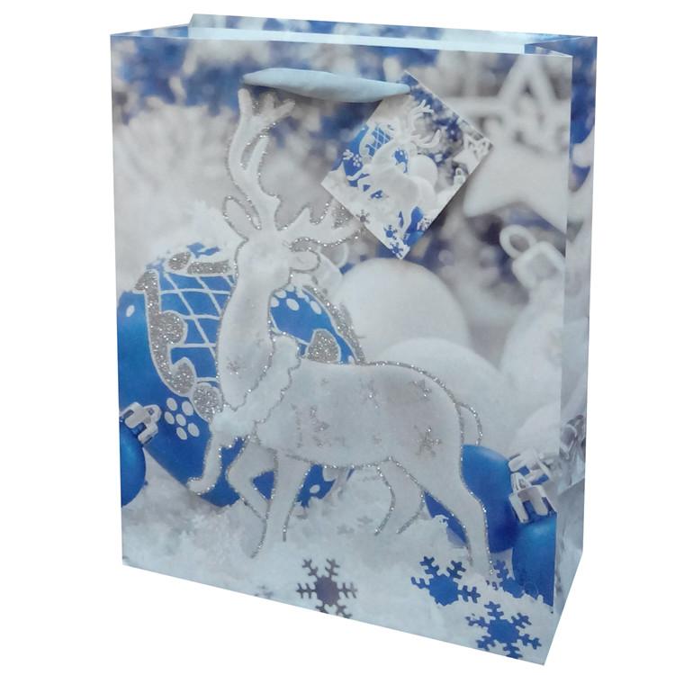 無料サンプル使用可能な甘いブルークリスマスグリッターリボンハンドル正方形紙ショッピングバッグ