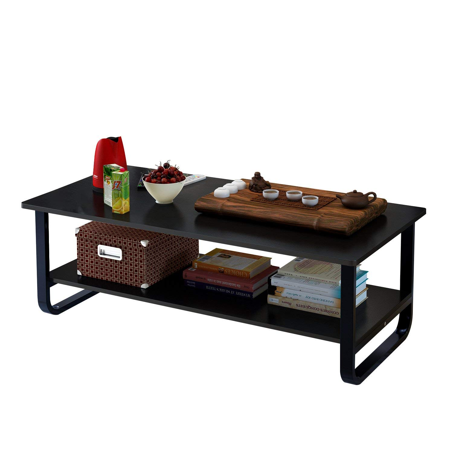 Jerry & Maggie - Tea Table Coffee Table Desk - Multi Function Wood & Steel Living room Desk - 2 Tier Polished Surface | Black