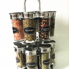 12pcs glass table condiment holder salt curry pepper bottle with stand