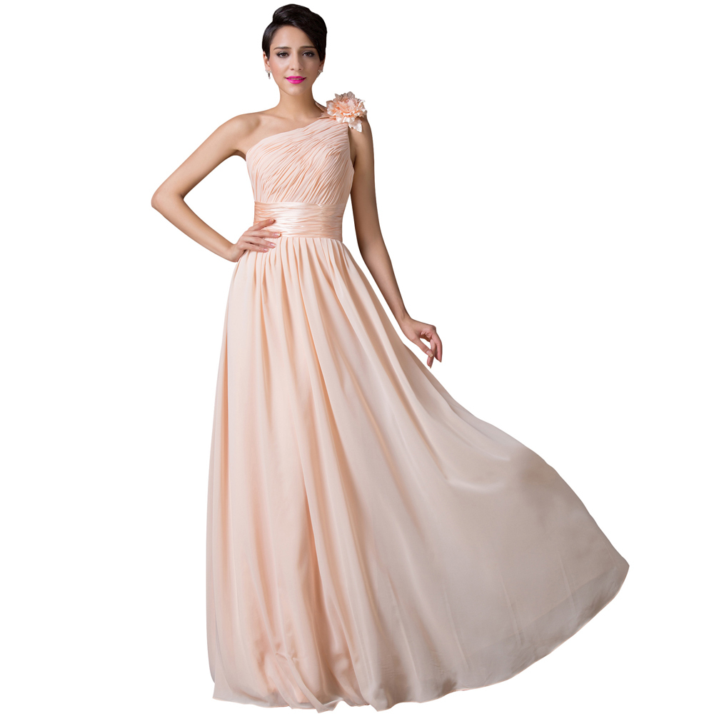 Get Quotations · Grace Karin Elegant Apricot Stock One Shoulder Vestidos  Bandage Long Chiffon Women Celebrity Party Dresses Plus 2b65ed28b63e