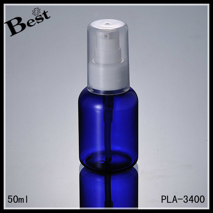 cosmetic packaging high quality skin care 50 ml pet bottle translucent blue plastic bottle pet with pump bulk buy from china