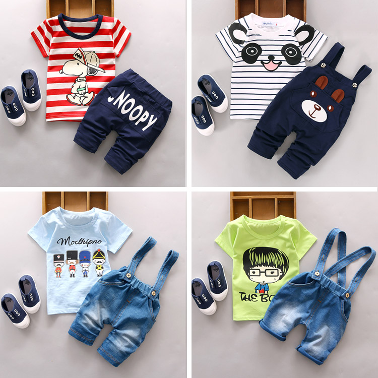 2016 Newest Summer baby sets boys clothes cotton o neck shorts with chracter print children toolders