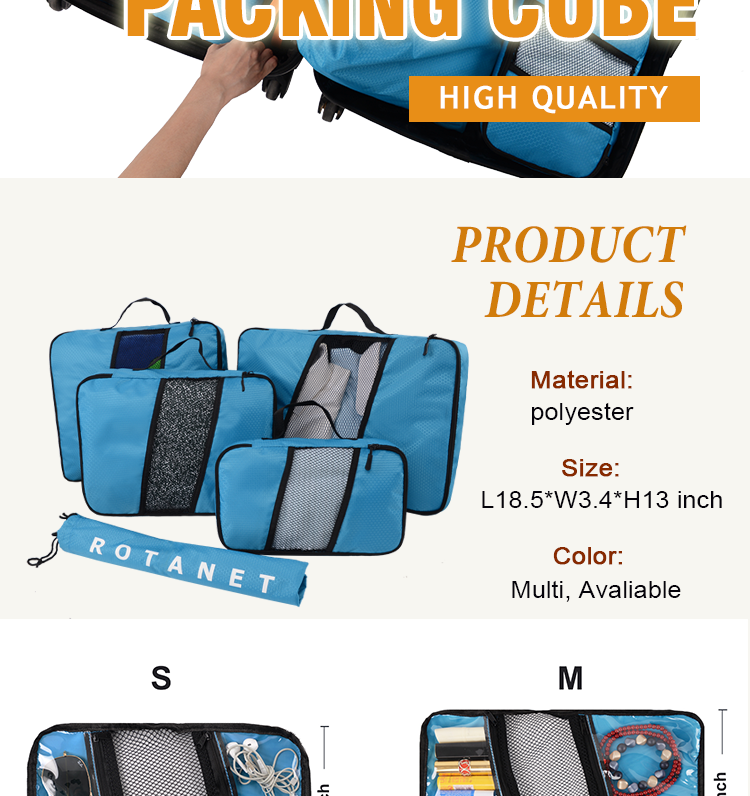 2 in 1 Travel Organizer  Makeup Cosmetic Organizer at the Lid Of Bag Best For Women and Men Packing Cubes travel organizer bag