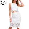 Customize Elegant White Lace Two Piece Crop Top Set With Pencil Skirt