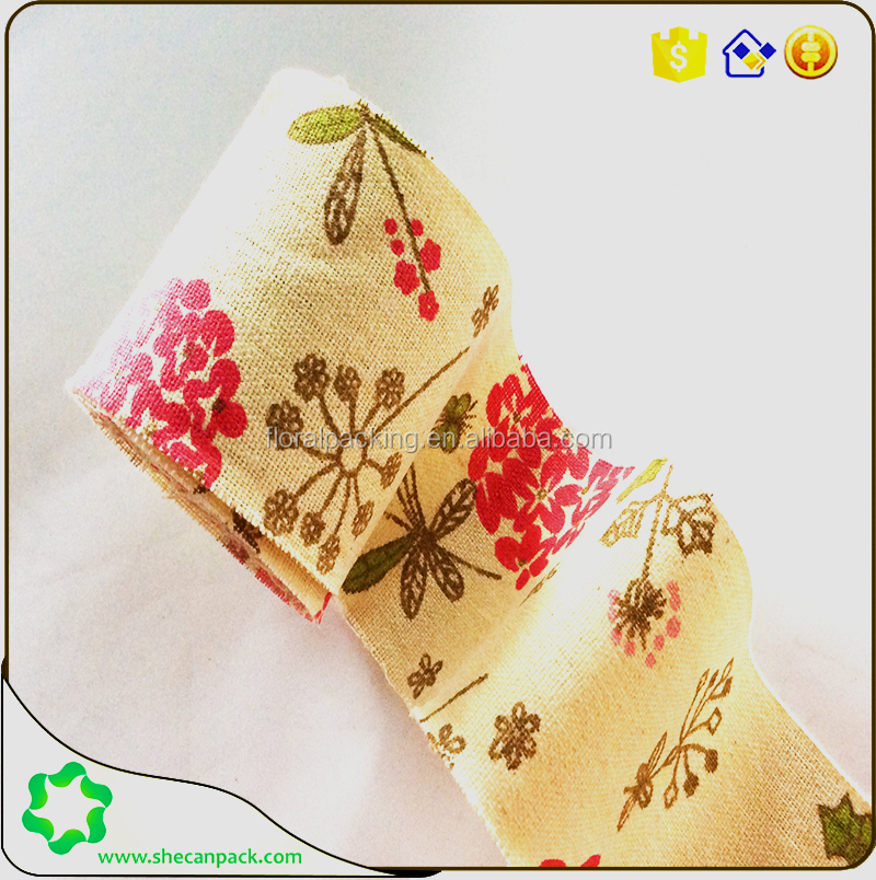 SHECAN 50mm by 5meter Frayed Edge Printed cotton linen ribbon