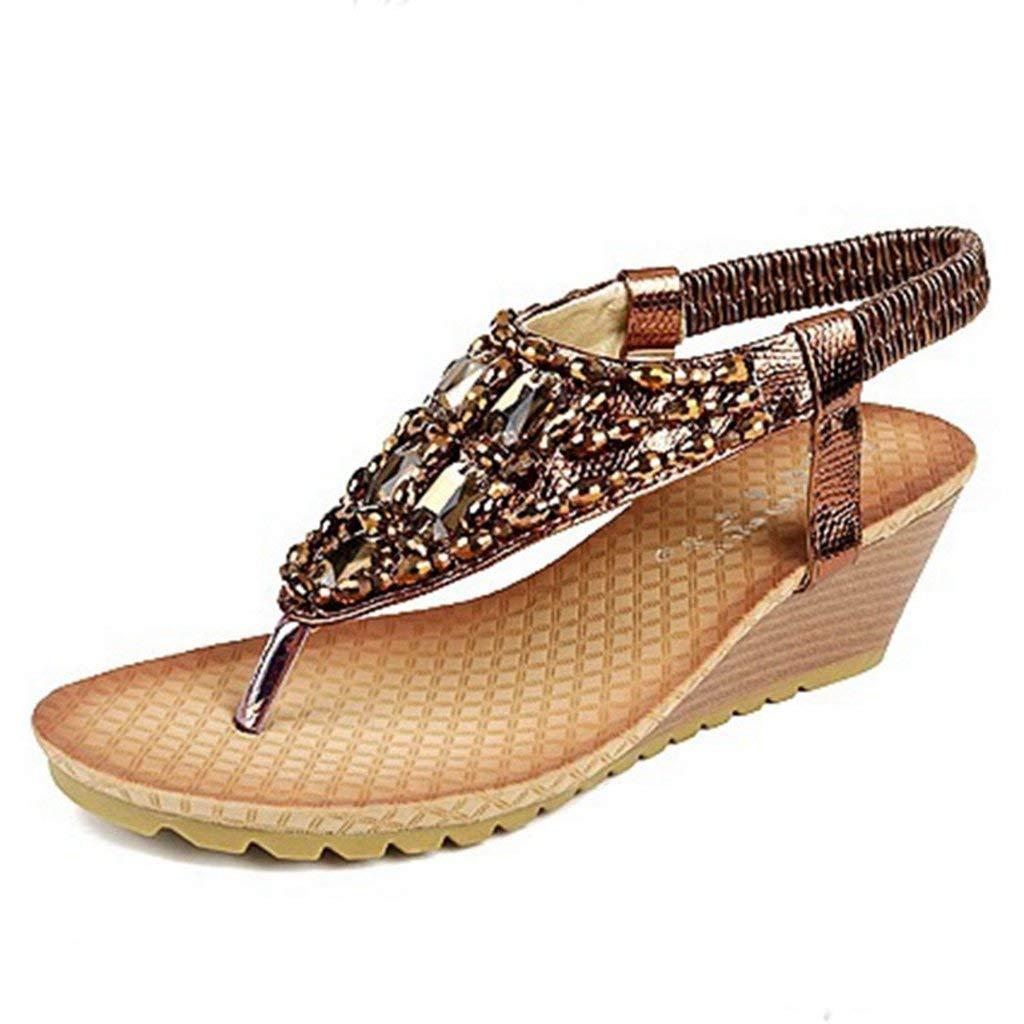 ca72b1bde Get Quotations · GIY Womens Glitter Wedges Sandals Summer Elastic Strap  Peep Toe Platform Shoes Heel Sandal Flip Flop