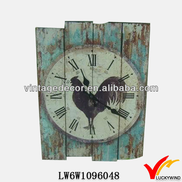 shabby chic distressed wooden wall clock