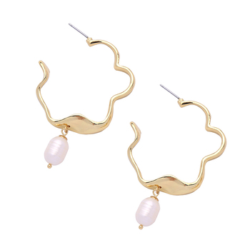 ed01804c Gold Plated Hoop Earring Wholesale Imitation Pearl Charm Hoop Earring For Women