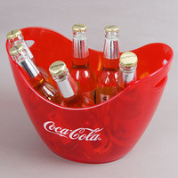 Boat shape clear PS plastic ice bucket with handles for beer