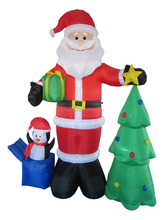 240cm/8ft inflatable santa claus who hold a gift bag and pick the star between the penguin and christmas tree