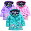 2016 children outerwear coat girl spring coat children s windproof coat girl lovely flowers rain ski