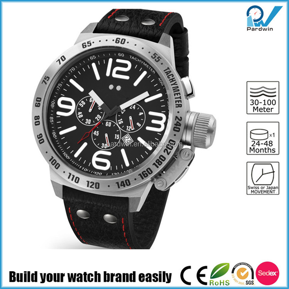 100 meters water resistant stainless steel case genuine leather strap chronograph Military Watches