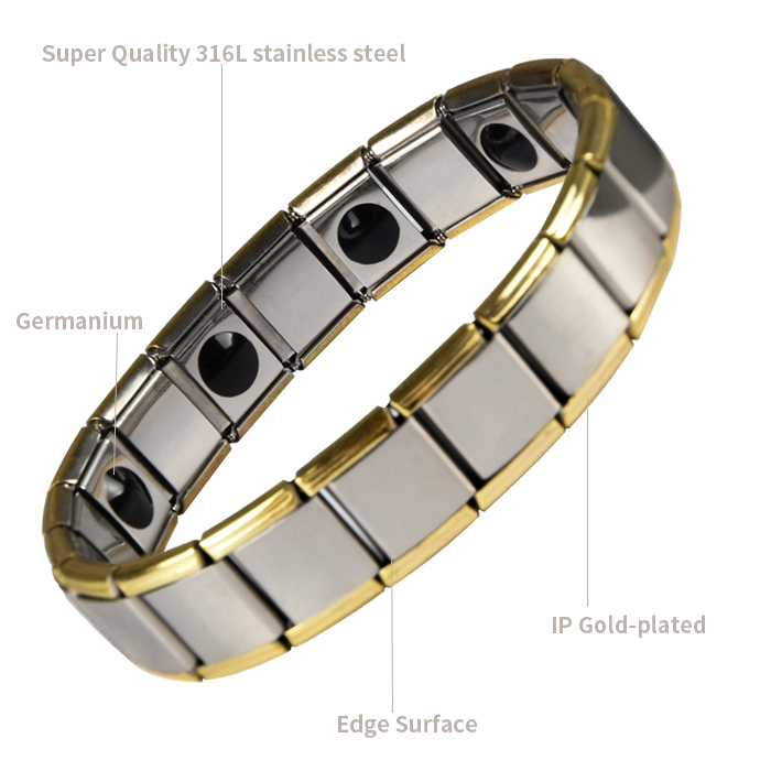 Men Gold Silver Anti-radiation Germanium Power Energy Stainless Steel Magnetic Bracelet
