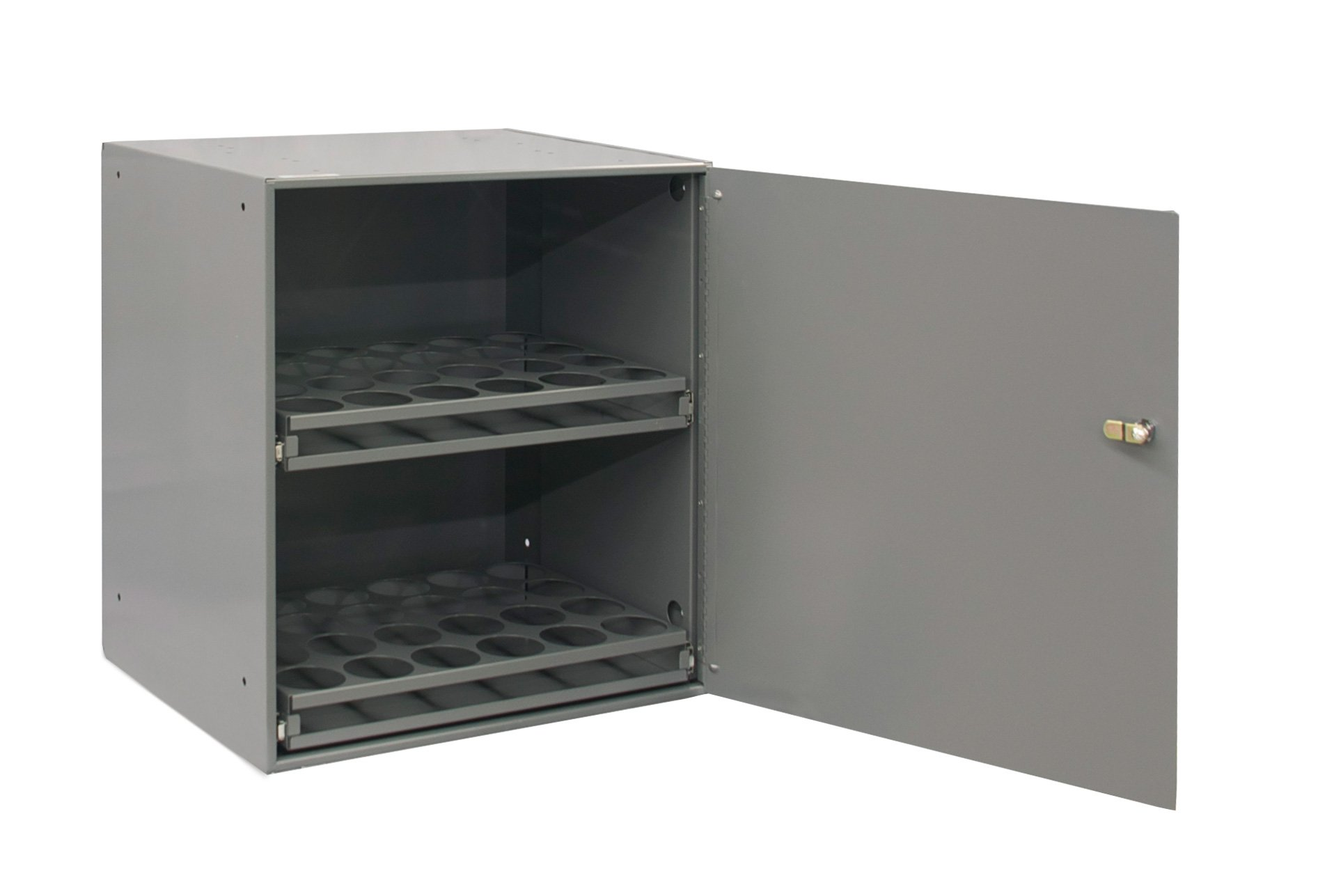 """Durham 300-95 Prime Cold Rolled Steel Aerosol Storage Cabinet, 2 Shelves, 15-15/16"""" Length x 20-5/16"""" Width x 21-7/8"""" Height, Gray Powder Coat Finish"""