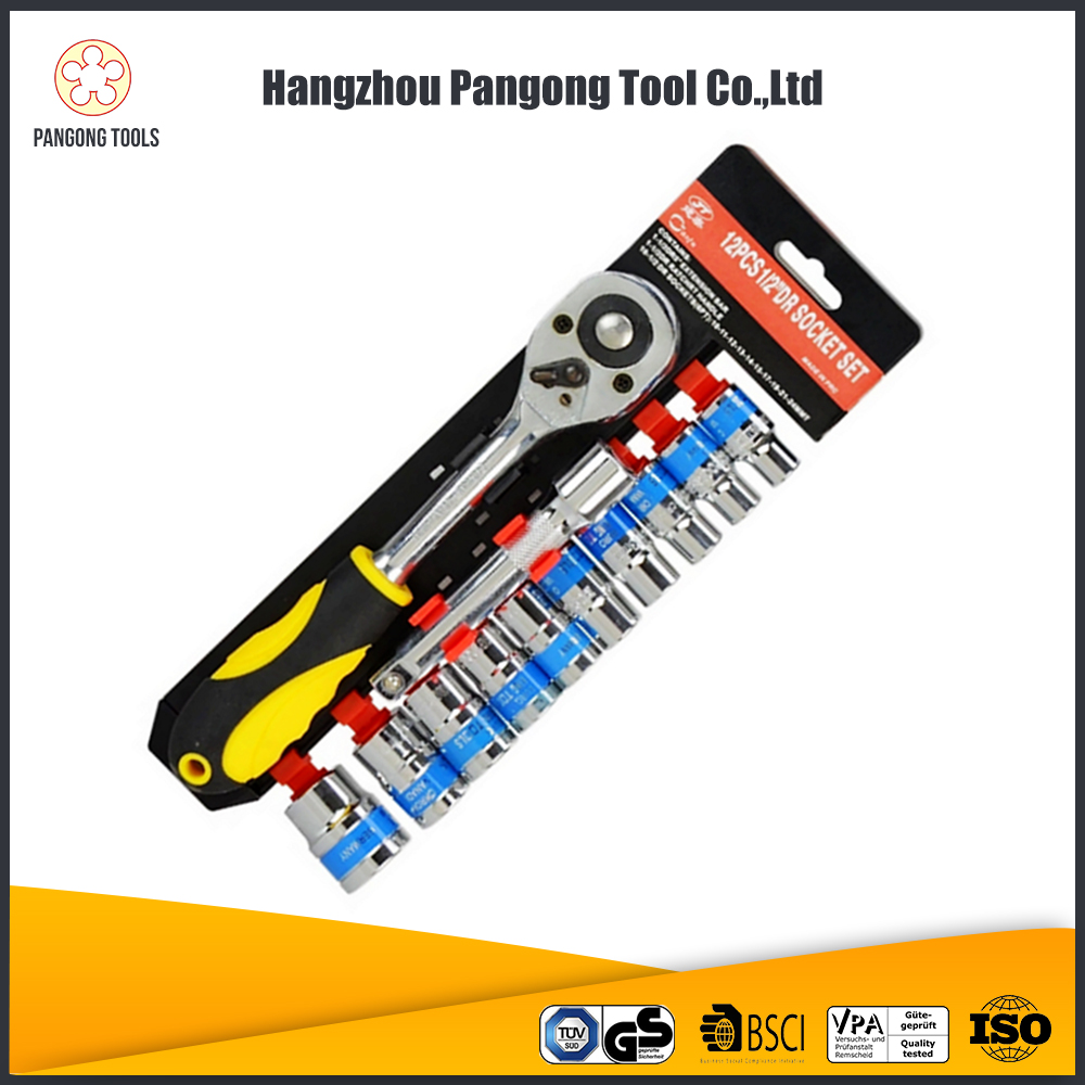 "Multi-function 12pcs 1/2"" titanium socket car tool set with spanner"