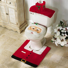 Santa claus toilet seat cover bathroom accessories tank cover flooring rug christmas decoration holiday  gifts art home decor