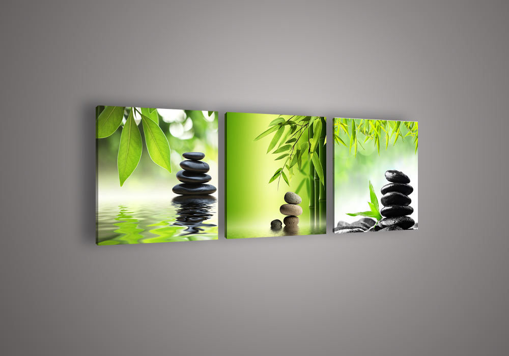 3pieces Modern Abstract Huge Wall Art Oil Painting On: 3 Piece Wall Art Botanical Feng Shui Green Picture Oil