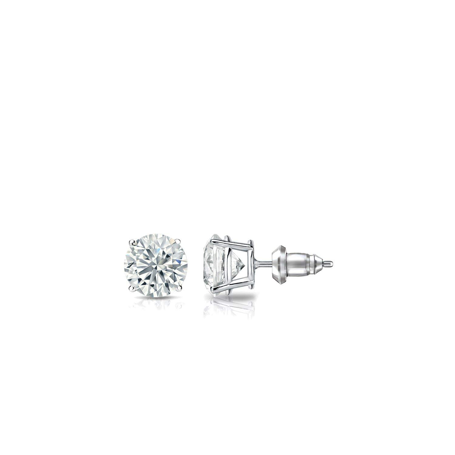 14k Gold 4-Prong Basket Round Diamond Stud Earrings (1/4 - 2 ct, G-H, SI2-I1) Secure Lock Back