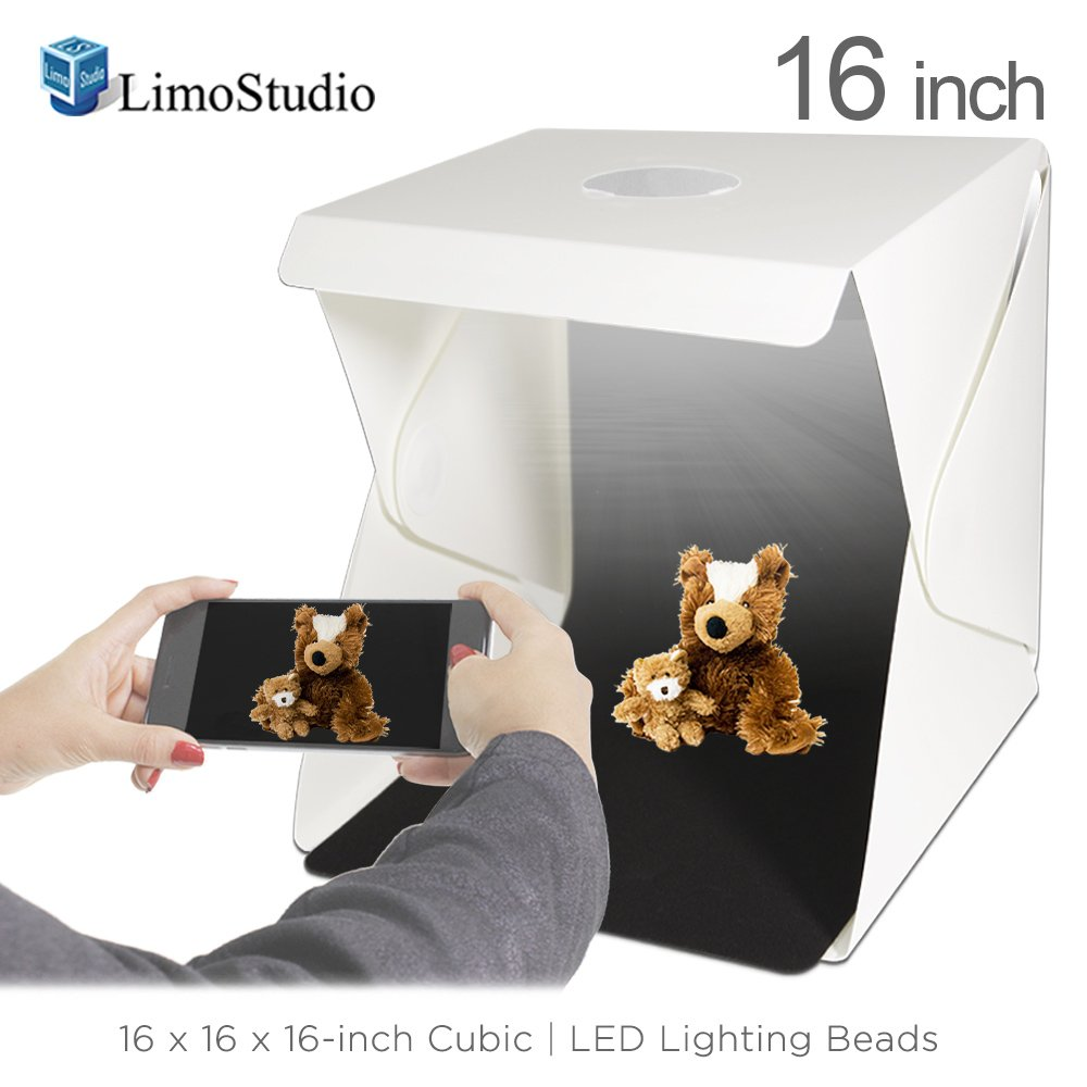Table Top Mini Stand 70 LED Foldable /& Portable Photo Studio Lighting Box Tent Kit with White//Black Background 16-inch Cubic Cellphone Clip Holder AGG2336 40 x 40 x 40 cm USB Power Cable