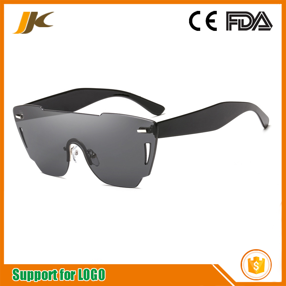 New fashion ocean film sunglasses Europe and the United States fashion side frame one sunglasses colorful lens frameless sunglas