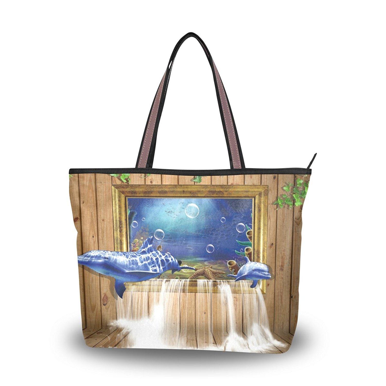WIHVE Women's Shoulder Bag Satchel Handbags Dolphin Board Window Waterfall Travel Tote Purse