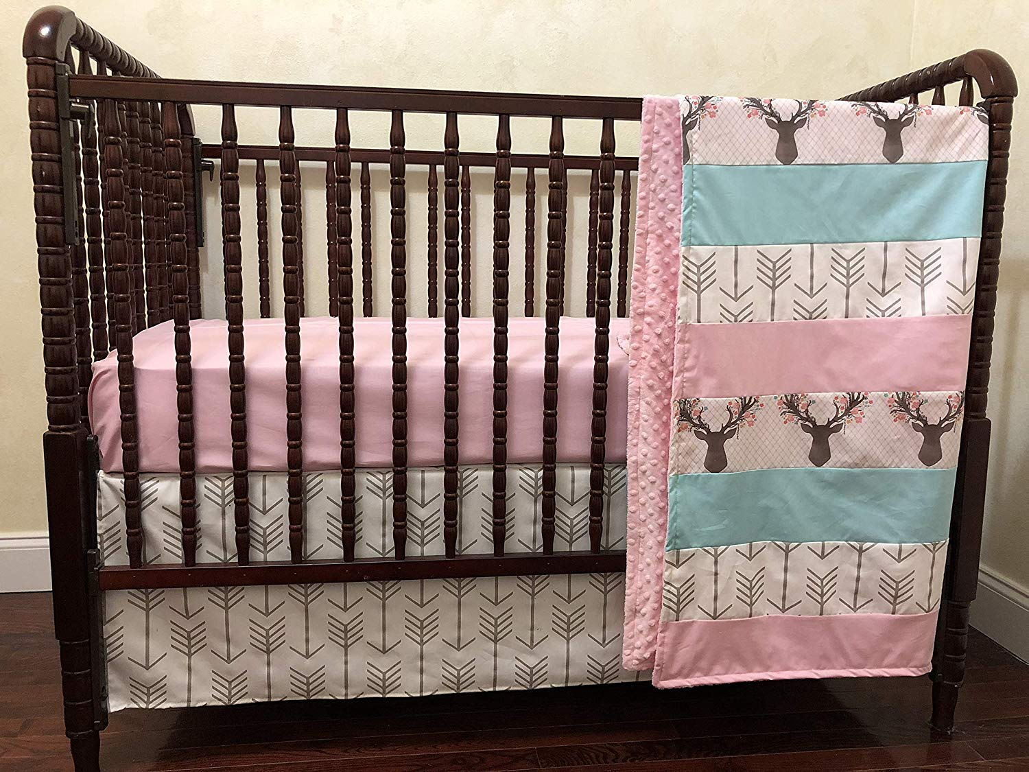 b4ee9a4b7 Get Quotations · Nursery Bedding, Woodland Crib Bedding Set - Deer Crib  Bedding, Pink and Aqua Girl