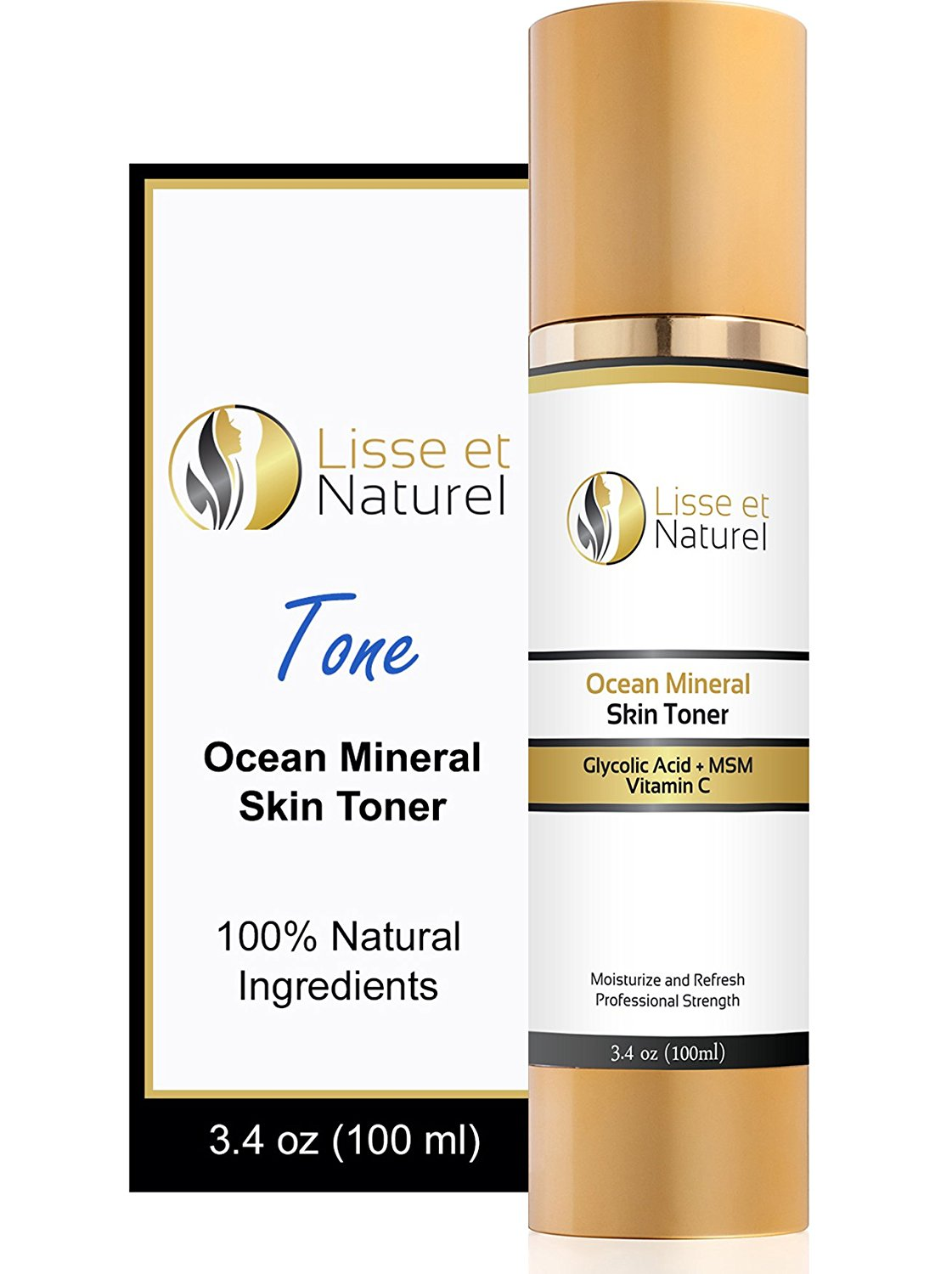 Lisse et Naturel Ocean Mineral Skin Toner - 100% Natural and Organic Anti Aging Face Toner With Vitamin C, Glycolic Acid, MSM & More - Nourishes and Hydrates The Skin Deeply - 3.4 OZ Size