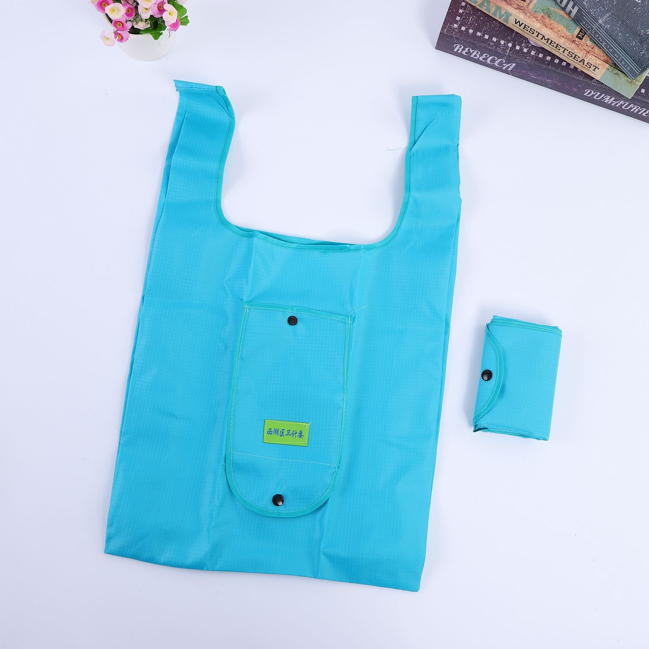 Polyester Material and Folding Style Reusable Shopping Tote Bag
