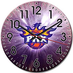 Arabic Numbers Contemporary Round Wall Clock Phoenix Suns Silent Frameless Reliable 10 Inch / 25 cm Diameter