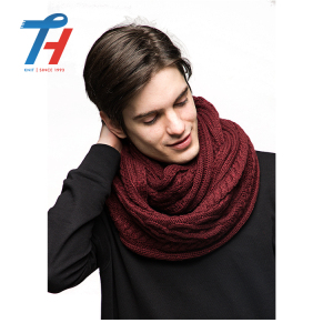 Wholesale Good Quality Red Knitted Knit Neck Snood Loop Infinity Scarf Knit