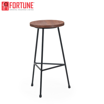 Terrific Minimalism Line Design Round Wooden Seat Metal Legs High Bar Stool Chair With Footrest Buy Simple Line Design Bar Stool Chair Minimalism Design High Gmtry Best Dining Table And Chair Ideas Images Gmtryco