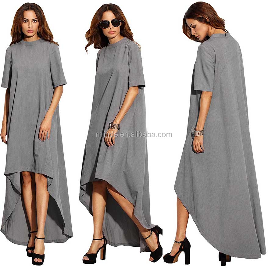 Women's Front knee Length Back Floor Length Dresses Crew Neck Short Sleeve Soft Comfy High Low Loose Casual Long Dress