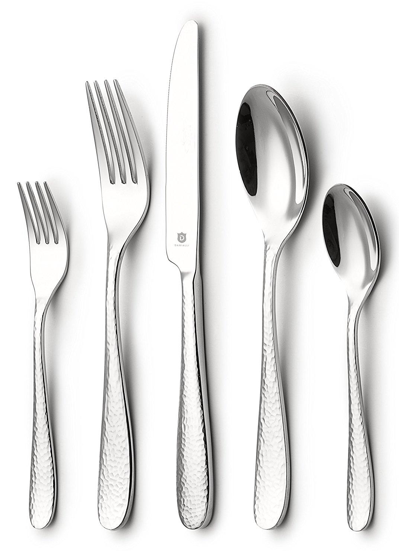 DANIALLI 40-Piece Flatware Set For 8, Modern Hammered Design Silverware Set, 18 10 Stainless Steel Utensils, Include Knife/Fork/Spoon, Mirror Polished Set of Cutlery, Dishwasher Safe