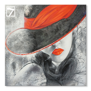 Abstract Oil Painting Black and White Picture Sexy Lady Handmade Oil Painting Red Lip on Canvas