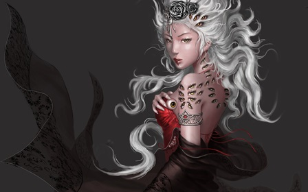 goddess dress gown jewelry hair face <font><b>asian</b></font> oriental eyes creepy demon women sexy 4 Size <font><b>Home</b></font> <font><b>Decoration</b></font> Canvas Poster Print