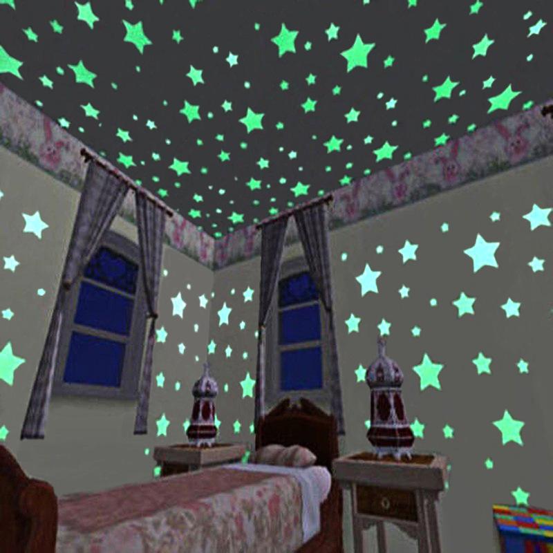 Светящиеся в темноте светящиеся флуоресцентные ПВХ наклейки на стену улыбающееся лицо звезда настенные светятся