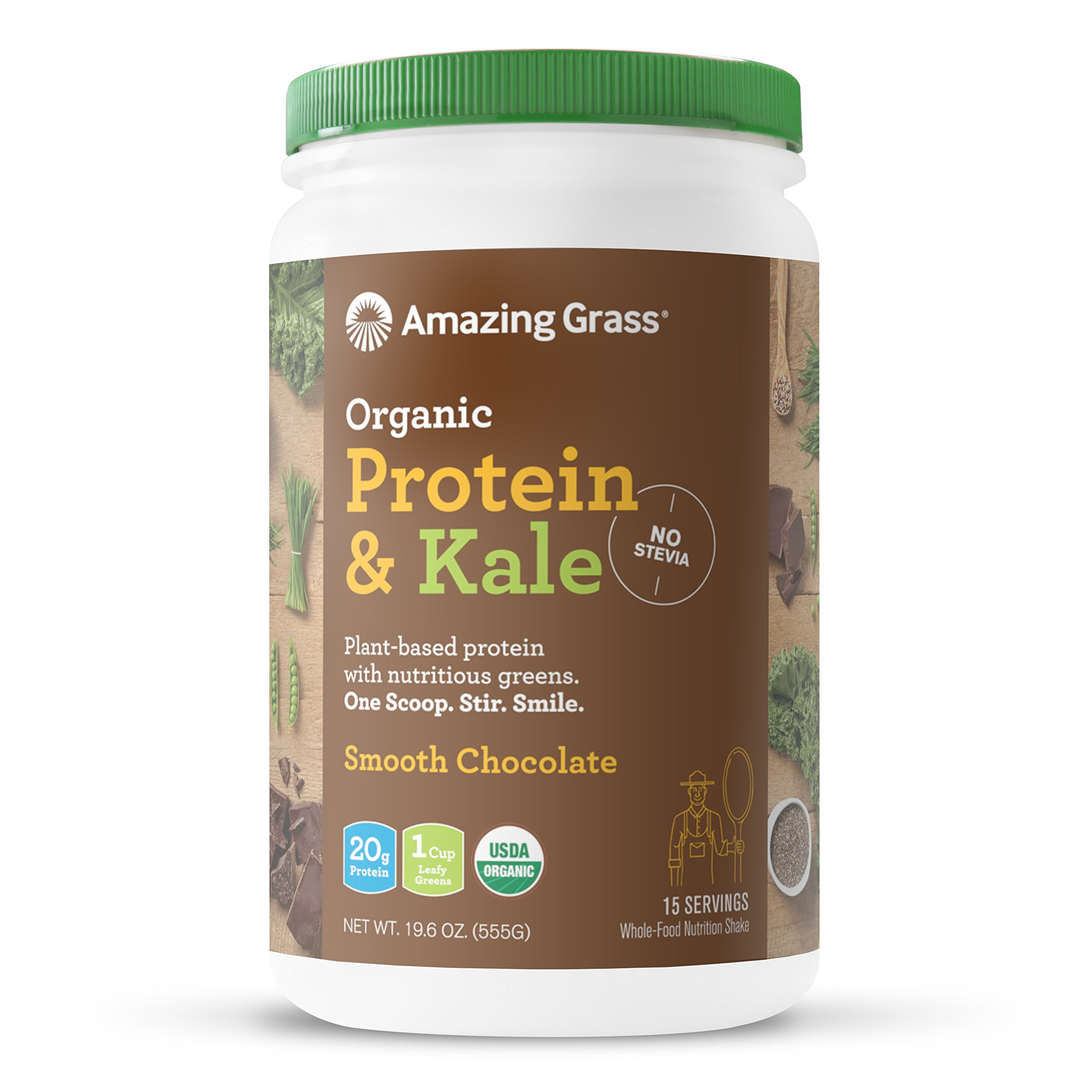 Amazing Grass Organic Plant Based Vegan Protein & Kale Powder, Flavor: Chocolate, 15 servings, 20g protein, 19.6 Ounce, Greens, No Stevia, Non-GMO, Gluten Free