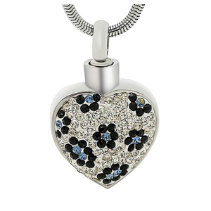 Cremation Necklaces High Quality Stainless Steel Memorial Jewelry Ashes Urns Keepsake Pendant Inlay Crystal